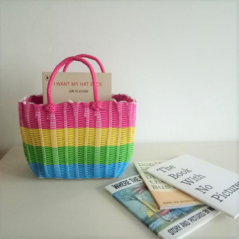 Imitation Rattan Hand Basket - Medium Rainbow