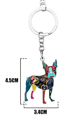 Boston terrier Color Key chain key-ring