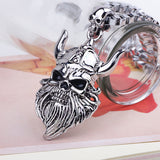 Bearded Viking Skull Warrior Necklace