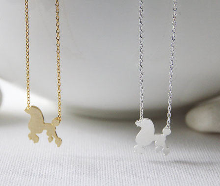 Cute Poodle Necklace in Silver/ Gold