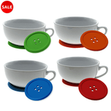 5x Beautiful Multicolor Silicone Button Coasters