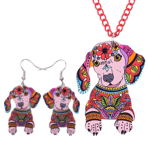 Dachshund Necklace and Earrings Colors