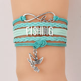 Cute Fishing Charm bracelets With fishman Boat