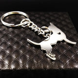 Adorable Chihuahua Silver Keychain