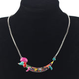 Multicolor Poodle Pendant Necklace
