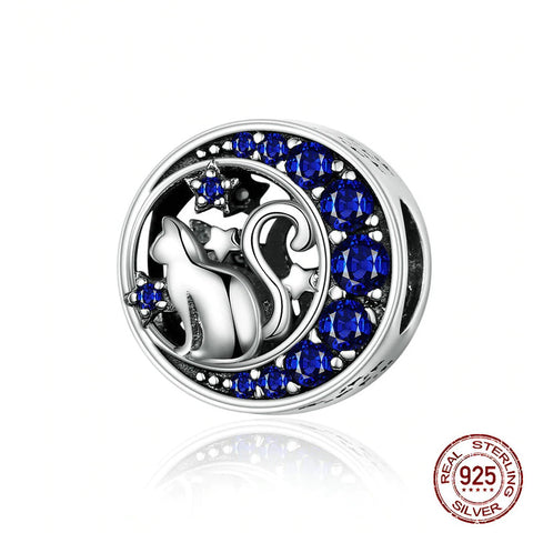 Sterling Silver Blue Moon Cat Charm