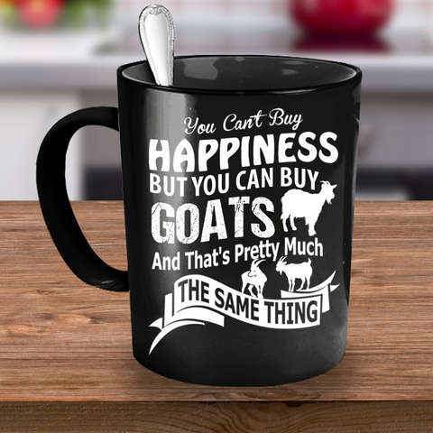 Cute Goat Happiness Black Mug