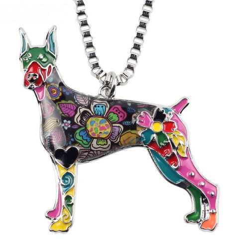 Cute Doberman Multicolor Necklace