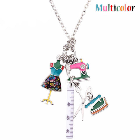 Lovely Sewing Tools Multicolor Necklace