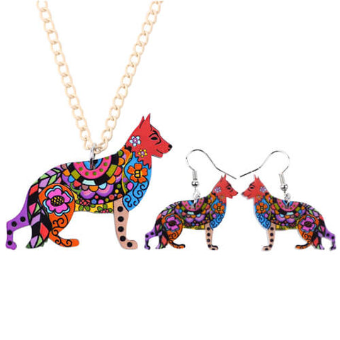 Beautiful German Shepherd Acrylic Jewelry Set