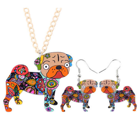 Beautiful Pug Acrylic Jewelry Set