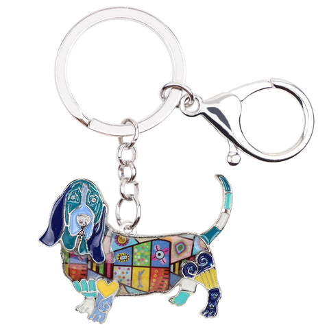 Cute Basset Hound Multicolor Keychain