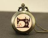 Awesome Sewing Machine Watch vintage Necklace * Free Shipping *