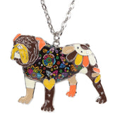 English Bulldog Multicolor Necklace