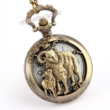 Bronze Goats Hollow Quartz Pocket Watch Necklace