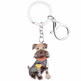 Cute Happy Schnauzer Keychain