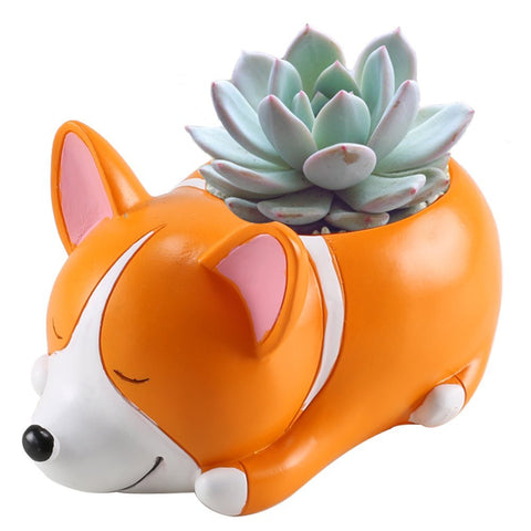 Cute Corgi Flowerpot Garden Decor