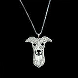 Cute Greyhound face necklace