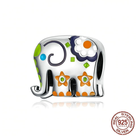 Sterling Silver Colorful Elephant Charm