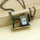 Antique Bronze Sewing Machine Watch Necklace