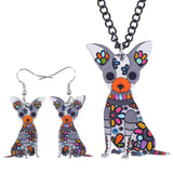 Beautiful Chihuahua Acrylic Jewelry Set