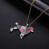 Cute Blue Poodle Gold Chain Necklace
