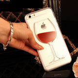 Red Wine Cup Dynamic Liquid Transparent Iphone Case