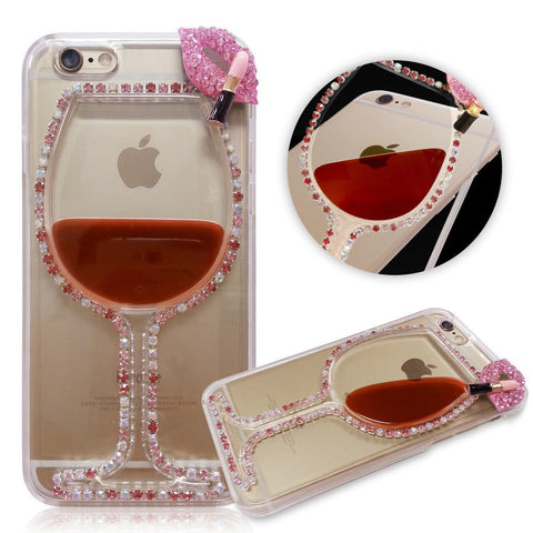 Red Wine Cup Dynamic Liquid Transparent Iphone Case With Rhinestone