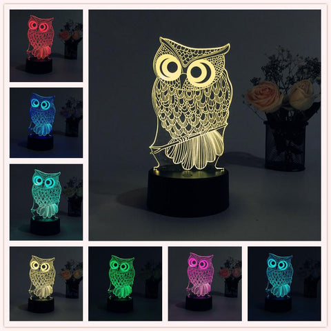 Lovely 3D Color Changing Owl Lamp