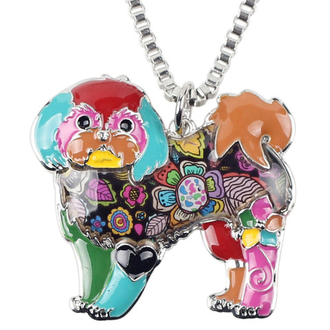 Beautiful Shih Tzu Multicolor Necklace