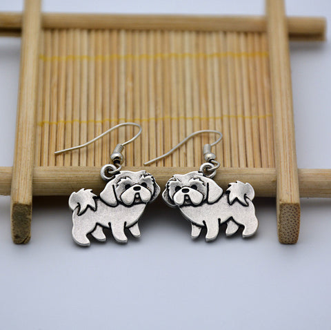 Cute Silver Shih Tzu Earrings Pair