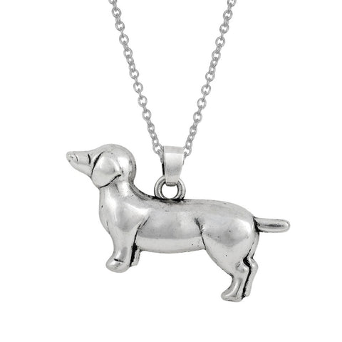 Silver dachshund Dog Necklace + Freeshipping