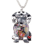 Beautiful Enamel Dachshund Pendant Necklace
