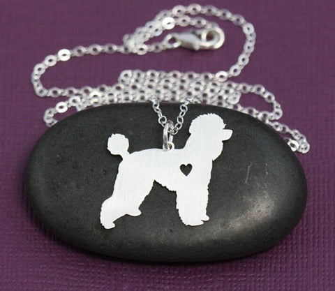 Poodle Necklace Pendant Puppy Heart