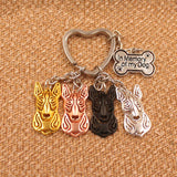 Cute Bull Terriers in 1 Keychain