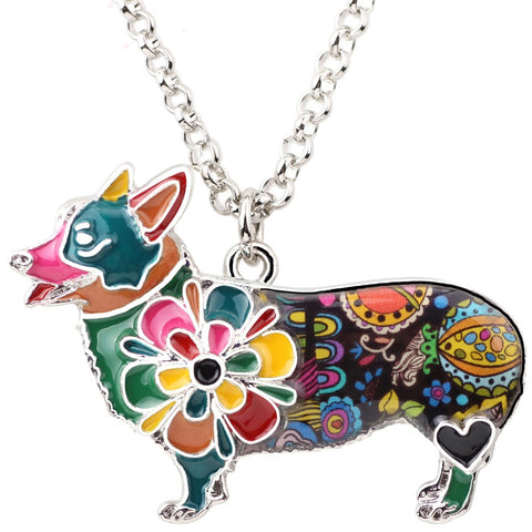 Cute Flower Corgi Multicolor Necklace