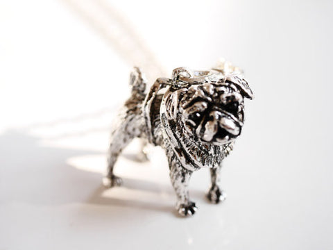 Cute pug dog Silver/Bronze Necklace