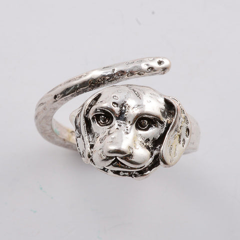 Beagle Dog Ring Silver/Gold