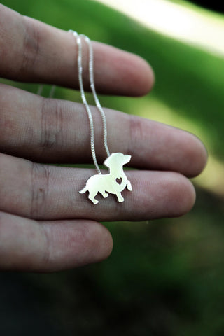 Cute Silver Dachshund Necklace