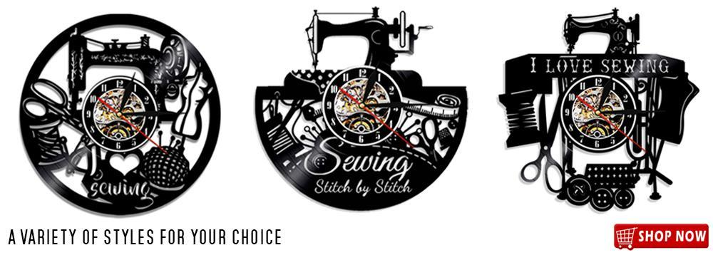 Sewing machine vinyl wall clock