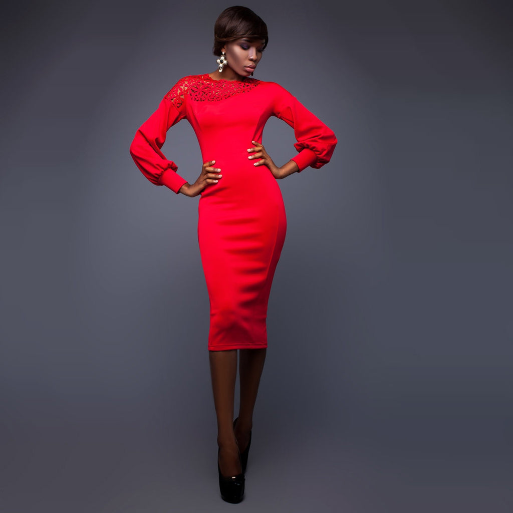 ROSET MIDI DRESS WITH SHOULDER LASER PERORATED DETAIL AND LONG SLEEVES