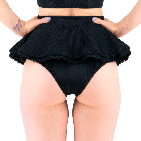 Black Swan - Fit N Flare Cheeky High Waist Swim Skirt - McLaineO