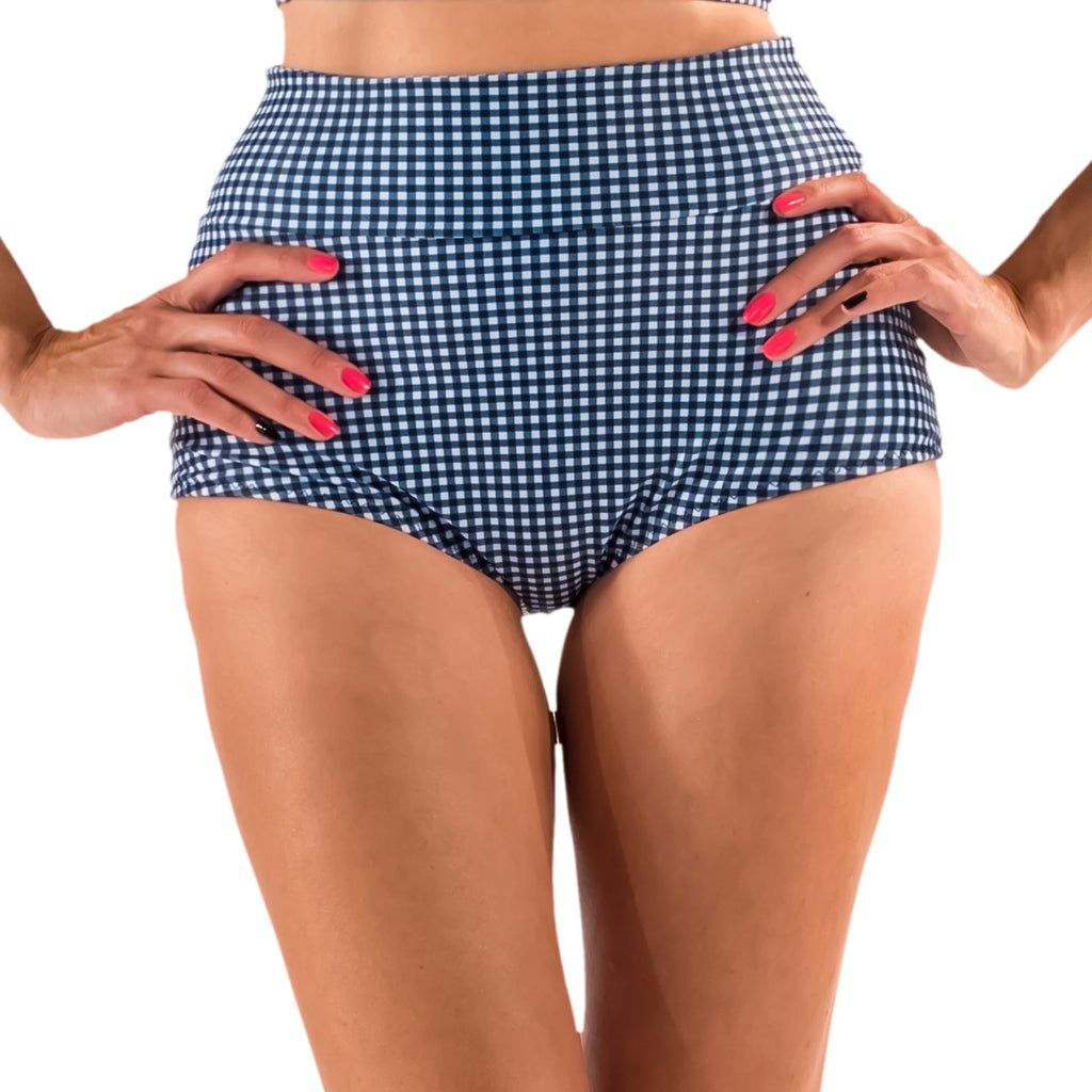 Go, Go Gidget!  Gingham High Waist Bikini Bottom - McLaineO