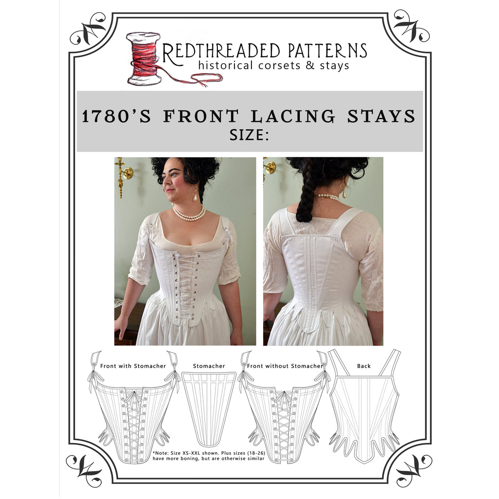 1780's Front Lacing Stays Pattern -- Individually Sized Paper Pattern