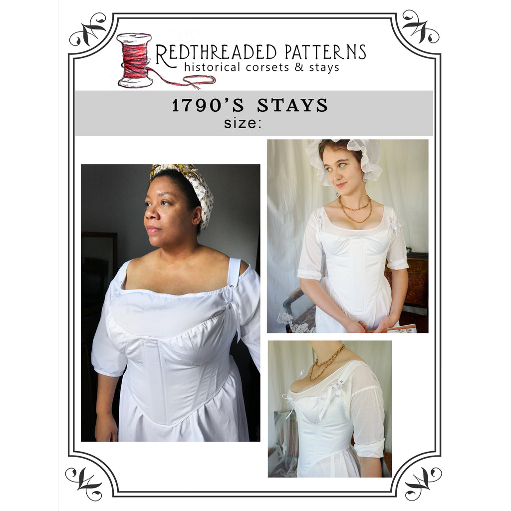 1790's Stays Pattern -- Individually Sized Paper Pattern
