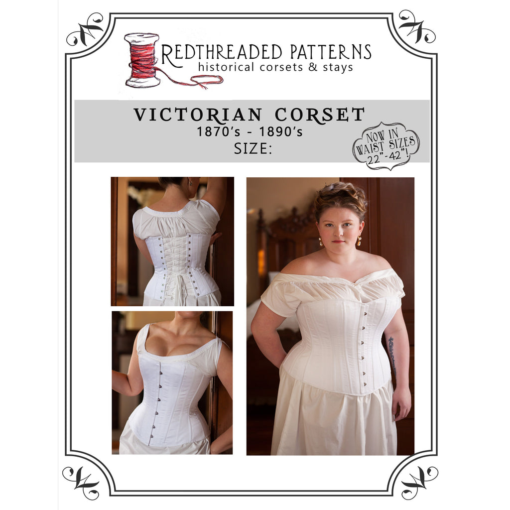 16f86619c66 Victorian Overbust Corset Pattern -- Individually Sized Paper Pattern –  Redthreaded