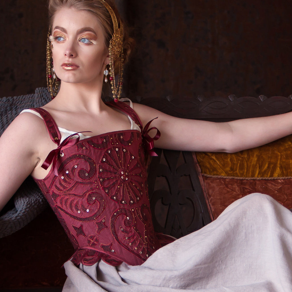 embellished tudor corset, wine red for theatrical, historical costume, steel boned
