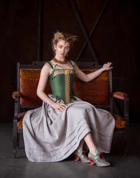 Embellished Tudor Corset in Green Silk -- Size XS