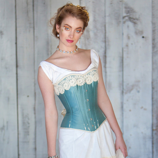 Flossed Silk Victorian Corset --Custom Sized Made to Order