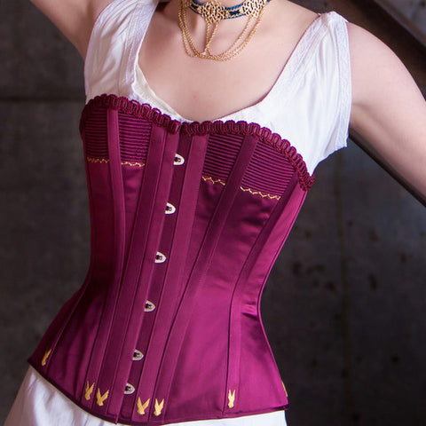 Victorian corset in silk satin with steel boning, flossing, bone casings, cording